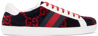 Gucci Ace Gg-diamond Towelling Low-top Trainers - Navy Multi