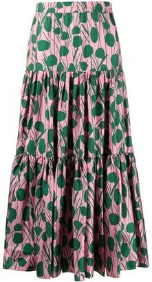 La DoubleJ x Mantero Moses Rosa print flared skirt