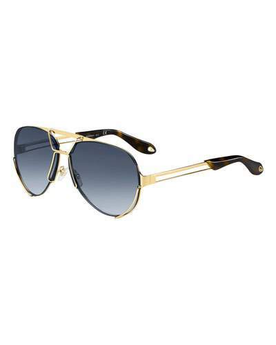 Givenchy Interchangeable Aviator Sunglasses, Gold