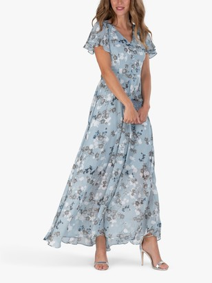 Jolie Moi Cross Flare Sleeve Floral Maxi Dress, Grey