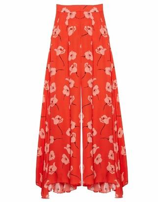 Carolina Herrera Wide Leg Floral Print Pant