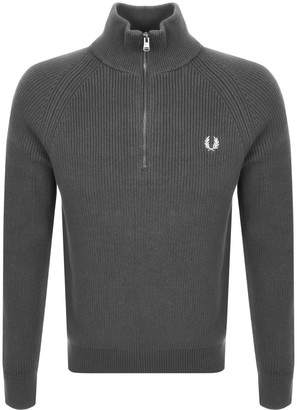 Fred Perry Half Zip Knitted Jumper Grey