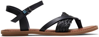 Toms Black Vegetable Tanned Leather Synthetic Braid Women's Lexie Sandals