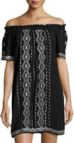 Romeo & Juliet Couture Embroidered Off-the-Shoulder Dress, Black/White