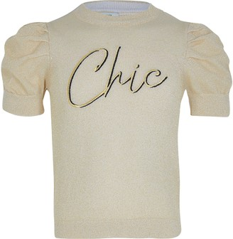 River Island Girls Gold lurex puff sleeve knitted top