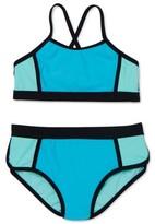 Wonder Nation Girls 4-18 & Plus Colorblock Cross Back Bikini Swimsuit with UPF 50+
