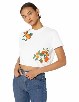 Finders Keepers findersKEEPERS Women's Kahlo Embroidered Short Sleeve Sweater Knit TOP
