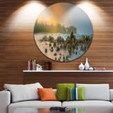 DESIGNART Design Art Romantic Untouched Beach Sunset Ultra Vibrant Landscape Metal Circle Wall Art