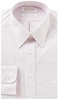 Roundtree & Yorke Gold Label Non-Iron Fitted Classic-Fit Point-Collar Checked Dress Shirt