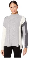 Vince Camuto Long Sleeve Cable Stitch Turtleneck Sweater (Light Heather Grey) Women's Clothing