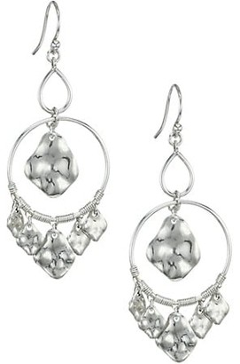 Chan Luu Hammered Sterling Silver Double Hoop Charm Earrings