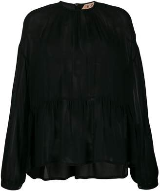 No.21 lightly pleated sheer blouse