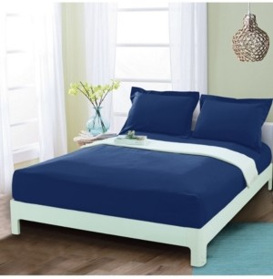 Elegant Comfort Silky Soft Single Fitted Sheet Full Navy Bedding