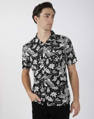 The Idle Man - Hawaiian Print Short Sleeve Shirt Black