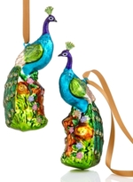 Holiday Lane Set of 2 Glass Peacock Ornaments