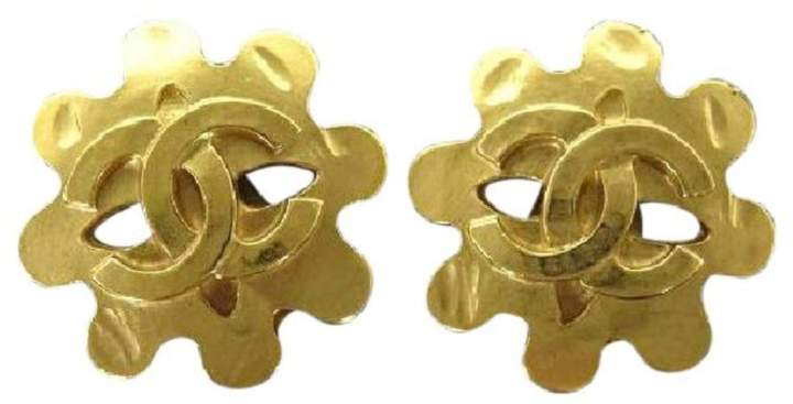 Chanel 94P Gold Plated Squiggly Abstract Earrings