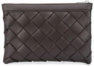 Bottega Veneta leather Intrecciato zip pouch