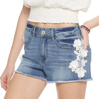 Indigo Rein Juniors' Floral Applique Denim Shorts