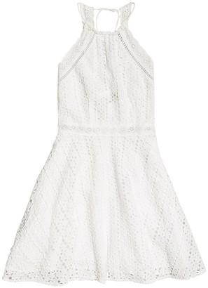 Superdry Teagan Cotton Short Halterneck Dress in Broderie Anglaise