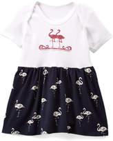 Beary Basics Navy & White Flamingos Skirted Bodysuit - Infant