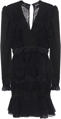 Just Cavalli Fluted Velvet-trimmed Lace And Flocked Tulle Mini Dress