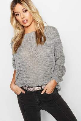 boohoo Petite Off The Shoulder Waffle Knit Sweater