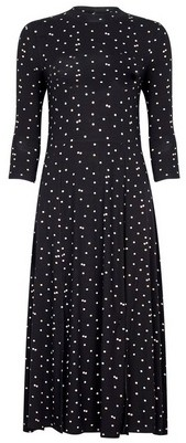 Dorothy Perkins Womens Black Spot Print Split Midi Dress, Black