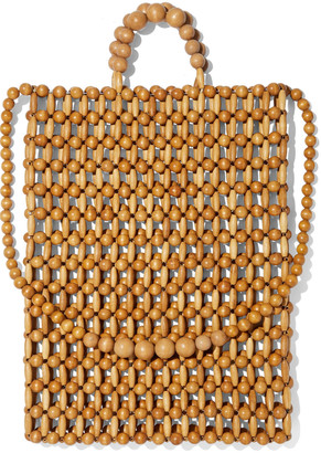 Cult Gaia Riya Beaded Bamboo And Wood Tote