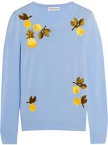 Altuzarra Harding Embellished Merino Wool Sweater - Sky blue