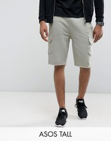 Asos Tall Skinny Jersey Shorts With Cargo Pockets In Green