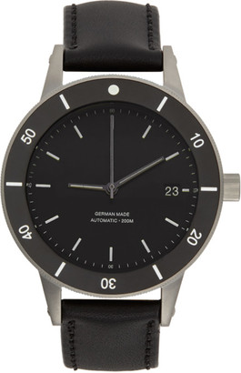 Instrmnt Black and Silver Leather Dive Watch