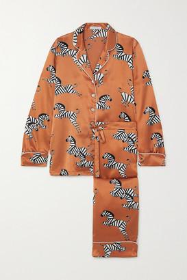 Olivia von Halle Lila Printed Silk-satin Pajama Set - Peach