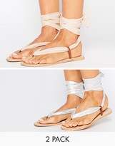 Asos FREAK Interchangeable Tie Leg Flat Sandals