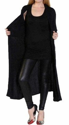 Unknown Fast Fashion Women's Long Sleeve Boyfriend Cardigan Plain Maxi Long Open - black - 12