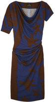Brown Ethnic Print Jersey Dress