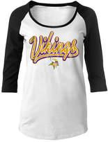 5th & Ocean Minnesota Vikings Nfl Women's Glitter Raglan T-Shirt
