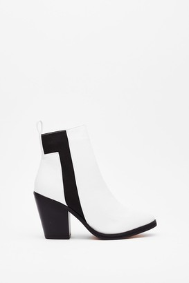 Nasty Gal Womens Monochrome at Last Contrasting Heeled Boots - White