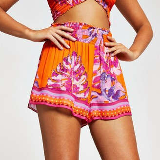 River Island Orange floral beach shorts