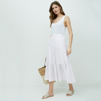 The White Company Cotton Tiered Printed Skirt, White Blue, 16
