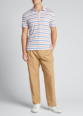 Massimo Alba Men's Striped Linen Polo Shirt