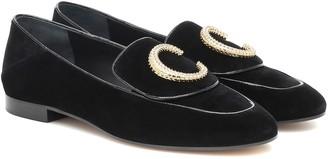 Chloé C velvet loafers