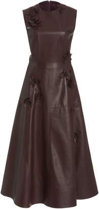 Oscar de la Renta Embellished Leather Midi Dress