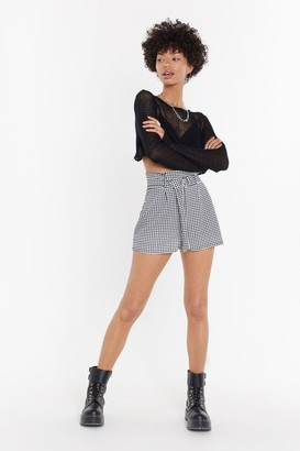 Nasty Gal Womens Walk In The Park Gingham High-Waisted Shorts - Black - 4