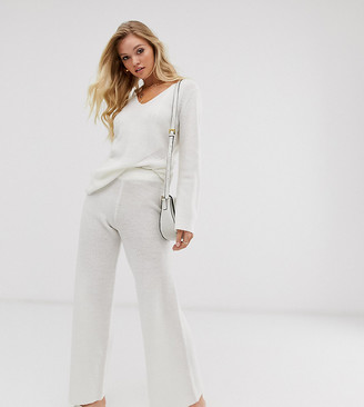Micha Lounge Luxe wide leg trousers in fine wool blend knit co-ord-White