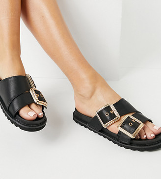 Glamorous Wide Fit chunky flat sandals in black