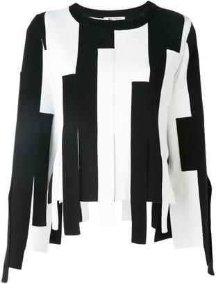 Ports 1961 striped block asymmetric-hem sweater