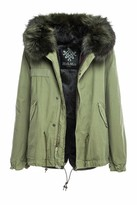 2786 Mens Expedition Padded Parka Jacket Faux Fur Trim