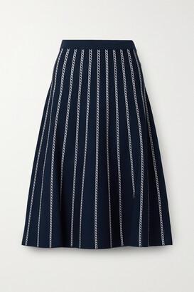 MICHAEL Michael Kors - Striped Jacquard-knit Midi Skirt - Blue