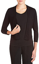 Allison Daley Petites 3/4 Sleeve Open Front Solid Cardigan