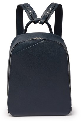 Valextra My Logo Grained-leather Backpack - Mens - Navy
